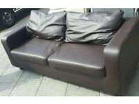 IKEA TWO SEATER LEATHER SOFA CHOC BROWN VERY COMFY CAN DELIVER MANCHESTER