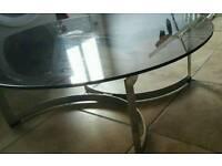 Smoked glass table. Metal Stand
