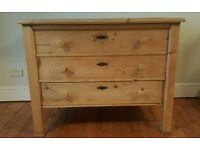 Large Stripped pine unusual trunk with a drawer (free local delivery)