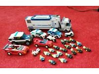 Selection of lego police and robber cars etc