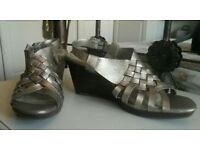 Clarks software gold sandals