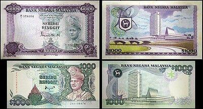 !COPY! 2 MALAYSIA BANK NEGARA RM1000 SERIBU RINGGIT BANKNOTES !NOT REAL!
