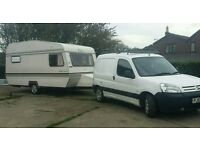 55 Berlingo 2.0 hdi and Piper 1400l 4 berth fixed bunk retro caravan and awning