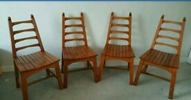 Vintage retro 1970s wooden ladder back chairs set of 4