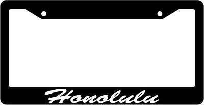 """Chrome License Plate Frame /""""I/'d rather be in Honolulu/"""" Auto Accessory 1356"""