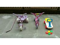 Kids Trike with Tipper, Scooter and Fisher Price Sit on Trolly with Blocks £8.50