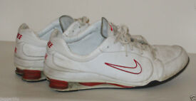 NIKE AIR SHOX WHITE & RED LEATHER TRAINERS SIZE 11 / 46 DEADSTOCK SNEAKER PUMPS*