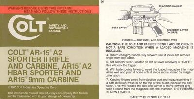 Colt 1985 AR-15 A2 Sporter II, HBAR & 9mm Rifle & Carbine Manual