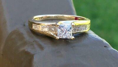 Estate Diamond Engagement Ring Princess Cut 1 Carat 14K Yellow Gold