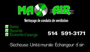 Nettoyage de conduit de sécheuse/unité murale/échangeur d'air