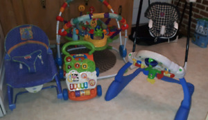 Baby exersaucer, swing, walker, chair,learning gym