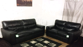 """"""" Black Real leather 3+2 seater sofas"""