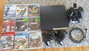PS3 Slim160GB  Package with Controllers & 9 Games