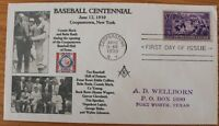 Baseball Centennial First Day Cover 1939 Cooperstown