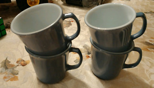 VINTAGE PYREX SET OF 4 SLATE BLUE COLORED MILK GLASS COFFEE CUPS