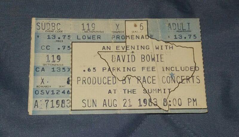 """DAVID BOWIE CONCERT TICKET STUB """"THE SUMMIT"""" AUGUST 21, 1983"""