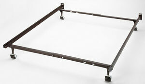 Double metal bed frame on castors