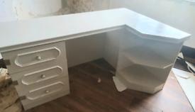 Corner White Wood Desk With Draws