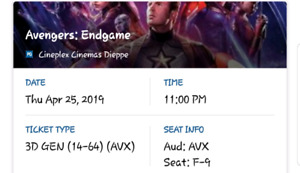 Avengers endgame ticket for sale