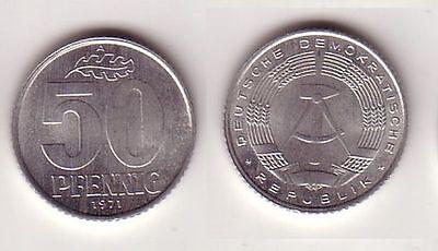 50 Pfennig Aluminium Münze DDR 1971 fast vorzügliche Erhaltung (114282)