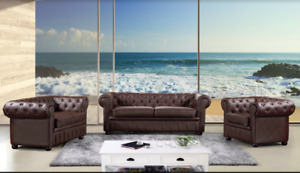 Genuine Cowhide Leather Tufted Sofa, Loveseat & Matching Chair