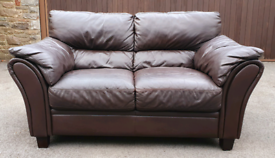 Quality dark tan genuine leather sofa DELIVERY INCLUDED