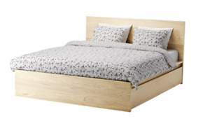 Ikea Malm King Bed White Stained Oak Veneer 4 Drawers