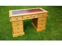 Pine desk with leather top