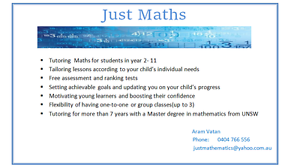 Maths Tutoring  Year 2-11, located at  Hills district Sydney Baulkham Hills The Hills District Preview