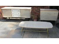 SET Vintage Stylish Formica Veneer 1950s Cocktail Sideboard & Dining Table & 4 Chairs & Coffee Table