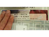 1 ticket wales v Argentina rugby 12th nov