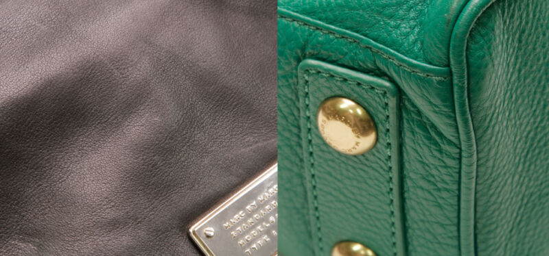 You can clearly see the grain on the leather of a genuine Marc By Marc Jacobs bag and neat clean stitching.