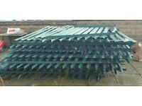 2.4m (7ft.) GREEN Industrial Security Steel Palisade Fencing