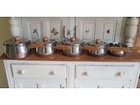 Set of 5 vintage prestige copper based saucepans
