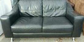Dfs black two seater sofa