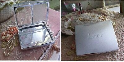Christian Dior silver make up mirror compact travel pill case brand new gorgeous