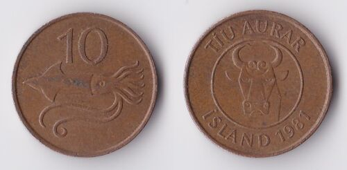 1981 Iceland 10 aurar coin with squid