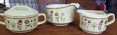 Temper-Ware by Lenox Sprite Gravy Boat, Cream and Sugar w/Lid Tan Flowers