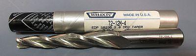 """2-1//4/""""LOC Weldon 5° Tapered End Mill: T5-8L-4 1//4/""""DIA 3FL,HSS 5//8/""""SHK USA"""