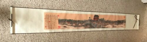 "74"" x 11"" Chinese Silk Scroll - Shichahai Water Scenic Spot - Sleeve and Case"