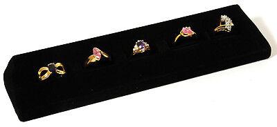 5 Slot Black Velvet Ring Display