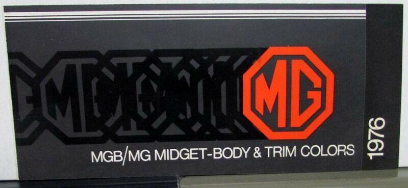 1976 MGB MG Midget Body & Trim Colors Dealer Sales Brochure Folder Paint Chips