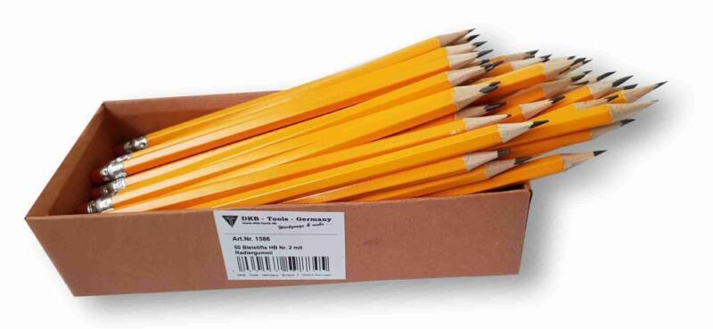 50 Stück DKB Holzbleistifte mit Radiergummi HB Nr. 2 vorgespitzt Bleistiftset