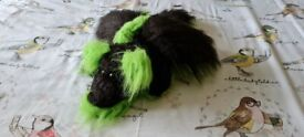 Handmade Sewn Green and Black Furry Dragon | Cuddly Soft Toy
