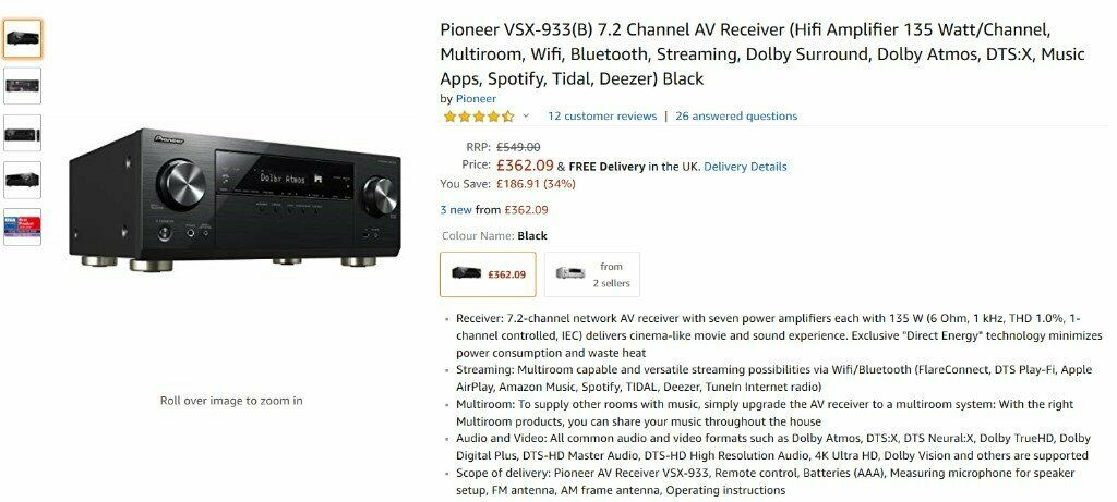*BRAND NEW* *UNOPENED* Pioneer VSX-933(B) 7 2 Channel AV Receiver | in  Colchester, Essex | Gumtree