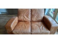 Distressed leather 2 seater sofa