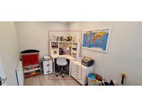 Ikea Micke White Corner Workstation & Chair - Children's Desk & Chair - Like New