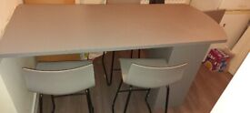 Gray bar stools and breakfast bar