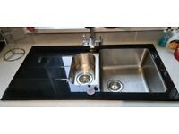 KITCHEN SINK, COOK AND LEWIS, 1-1/2 BOWL SINK. GOOD CONDION, NO CHIPS, SOME SIGNS OF USE
