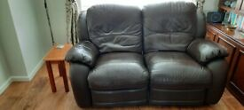 Two lether recliner sofas, three and two seater